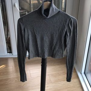 Cropped gray turtle neck